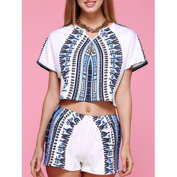 Chic Short Sleeve Printed Crop Top + Elastic Waist Shorts Women's Twinset