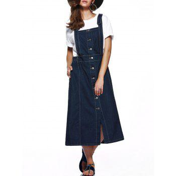 Single Breasted Furcal Denim Pinafore Skirt