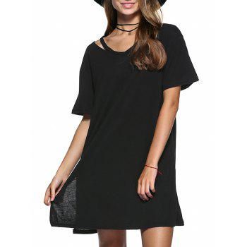 Cut Out Slit Pure Color Boyfriend Tee - BLACK BLACK