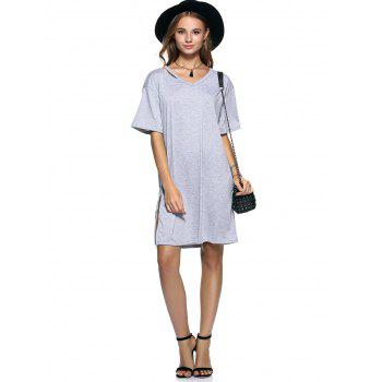 Cut Out Slit Pure Color Boyfriend Tee - GRAY 3XL
