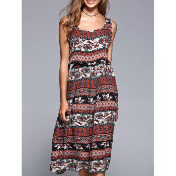 Bohemian Style Tribal Pattern Elastic Waist Midi Dress