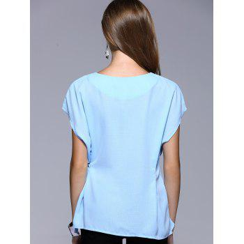 Romantic Date Side Bowknot Embellished Waisted Blouse - LIGHT BLUE LIGHT BLUE