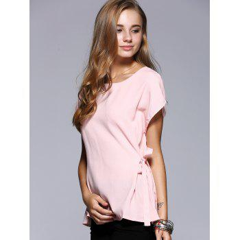 Romantic Date Side Bowknot Embellished Waisted Blouse - PINK XL
