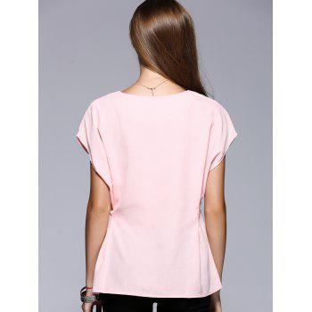 Romantic Date Side Bowknot Embellished Waisted Blouse - PINK L