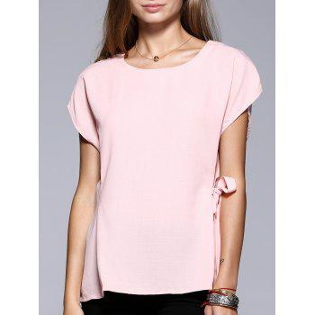 Romantic Date Side Bowknot Embellished Waisted Blouse - PINK PINK