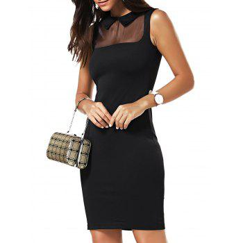 Flat Collar Mesh Panelled Bodycon Dress