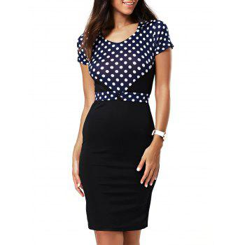 V-Neck Polka Dot Bodycon Dress