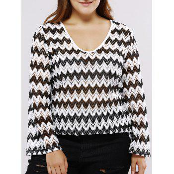 Oversized Casual Low Cut Chevron Pattern Blouse - WHITE AND BLACK 3XL