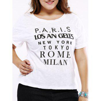 Plus Size Casual Cuffed Sleeve T-Shirt - WHITE WHITE