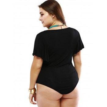 Plus Size Alluring Draped Sleeve Black Bodysuit - 4XL 4XL
