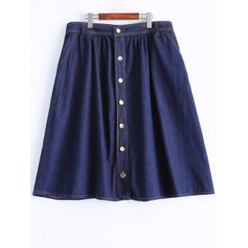 Plus Size Casual Single Breasted Denim Skirt