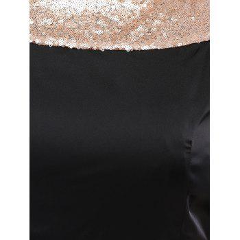 Sequined Sleeveless Open Back Plus Size Jumpsuit - BLACK BLACK