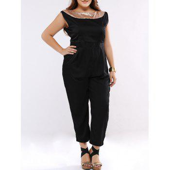 Sequined Sleeveless Open Back Plus Size Jumpsuit - BLACK 2XL