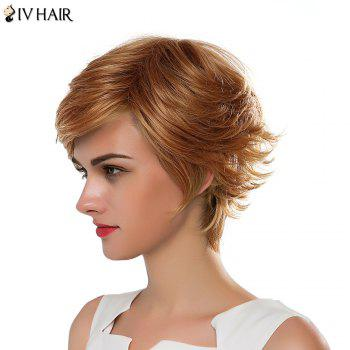 Vogue Short Fluffy Side Bang Women's Siv Human Hair Capless Wig - DARK ASH BLONDE