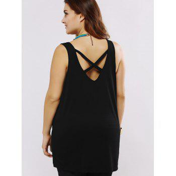 Plus Black Tank Top Taille Criss-Cross - Noir 4XL