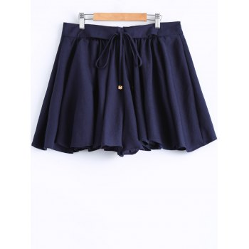 Plus Size Stylish Tie Front Pleated Culotte