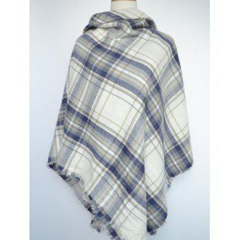 Stylish Tartan Pattern Large Square Scarf - BLUE