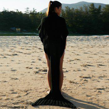 Chic Quality Comfortable Warmth Wool Knitting Mermaid Shape Blanket - BLACK
