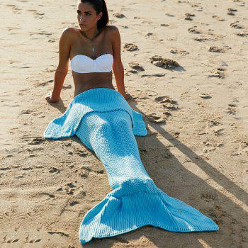 High Quality Wool Knitting Fish Tail Design Blanket For Adult - LIGHT BLUE