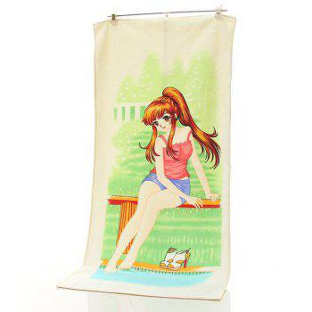 Creative Girl With Ponytail Pattern Change Color Towel