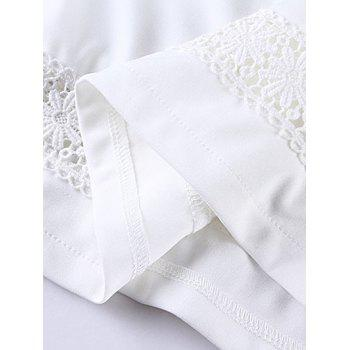 Plus Size Brief Lace Splicing White Blouse - WHITE WHITE