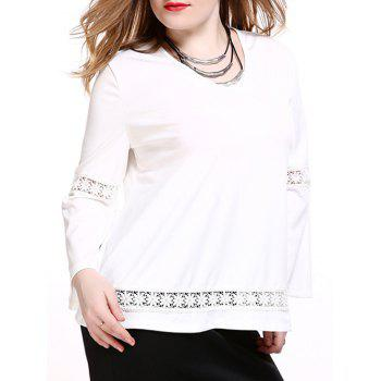 Plus Size Brief Lace Splicing White Blouse