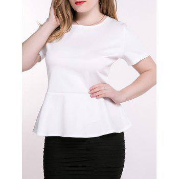 Plus Size Peplum Blouse - WHITE 4XL