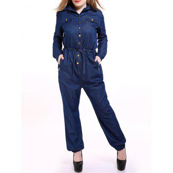 Plus Size Casual Mechanic Single Breasted Denim Jumpsuit