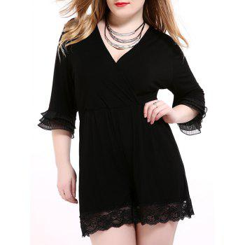 Oversized Alluring Layered Sleeve Lace Splicing Romper - BLACK 5XL