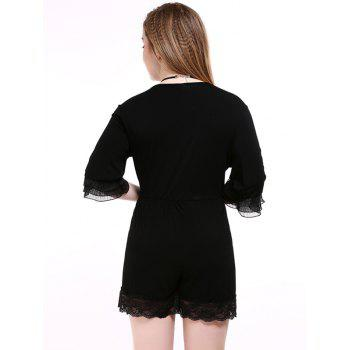Oversized Alluring Layered Sleeve Lace Splicing Romper - BLACK BLACK
