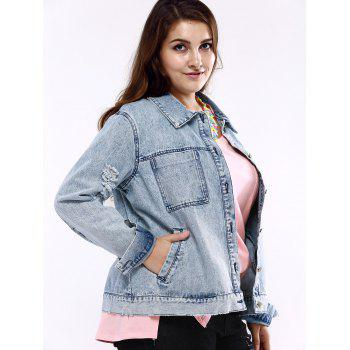 Plus Size Chic Frayed Denim Jacket - LIGHT BLUE 5XL