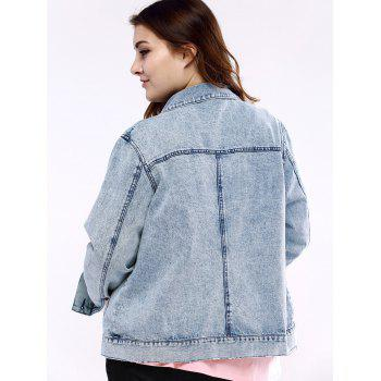 Plus Size Chic Frayed Denim Jacket - 2XL 2XL