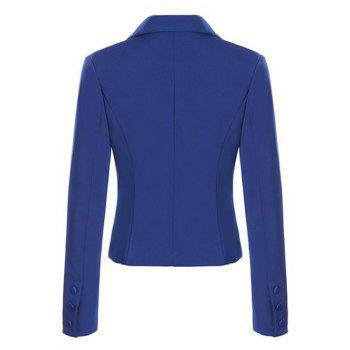 Single Breasted Lapel Neck Short Blazer - SAPPHIRE BLUE M