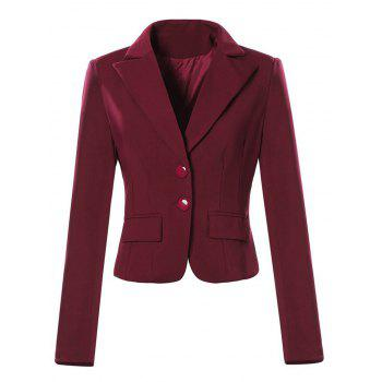 Single Breasted Lapel Neck Short Blazer - WINE RED L