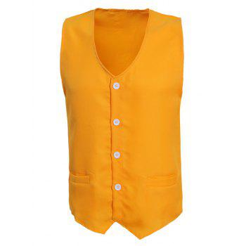 Solid Color V-Neck Serration Lower Hem Men's Waistcoat