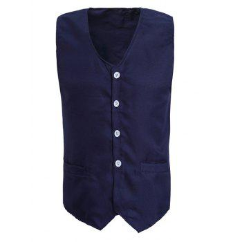 Solid Color V-Neck Serration Lower Hem Men's Waistcoat - CADETBLUE CADETBLUE
