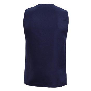 Solid Color V-Neck Single Breasted Design Men's Waistcoat - CADETBLUE M