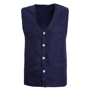 Solid Color V-Neck Single Breasted Design Men's Waistcoat