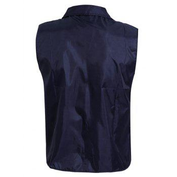 Turn-Down Collar Solid Color Zip-Up Men's Waistcoat - CADETBLUE 3XL