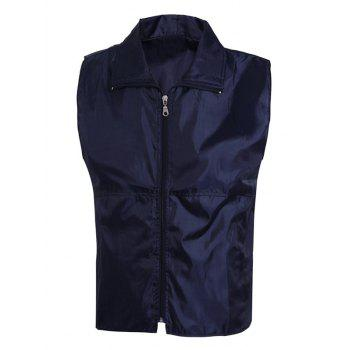 Turn-Down Collar Solid Color Zip-Up Men's Waistcoat