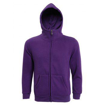 Hooded Long Sleeve Solid Color Zip-Up Men's Hoodie