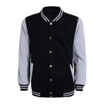 Color Block Stripe Rib Splicing Stand Collar Long Sleeve Men's Jacket