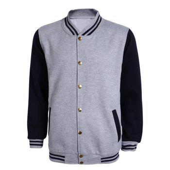 Color Block Striped Rib Splicing Stand Collar Long Sleeve Men's Jacket