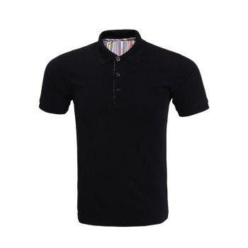 Solid Color Polo Collar Short Sleeve Men's T-Shirt