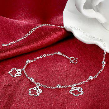 Cut Out Star Flower Charm Anklet - SILVER