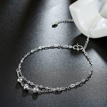 Alloy Ball Layered Charm Anklet - SILVER SILVER