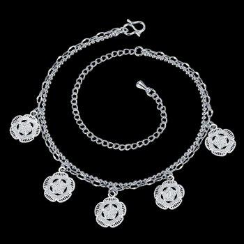 Chic Style Silver Plated Geometric Flower Charm Anklet For Women