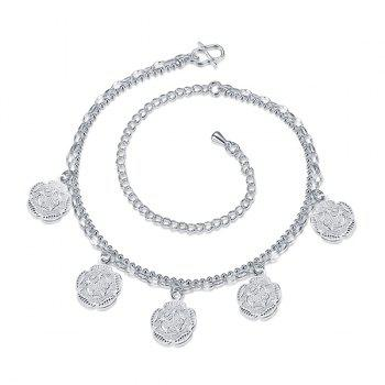 Chic Style Silver Plated Geometric Flower Charm Anklet For Women - SILVER
