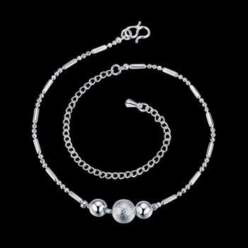 Simple Style Silver Plated Emboss Ball Charm Anklet For Women - SILVER SILVER