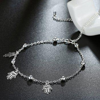 Filagree Palm Bead Charm Anklet
